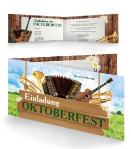 Einladungskarte Oktoberfest Instrumente Falz Seite Gruen