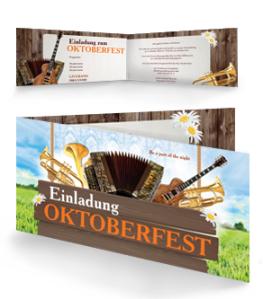 Einladungskarte Oktoberfest Instrumente Falz Seite Orange