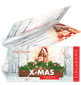 Einladungskarte Weihnachten Weihnachtsengerl Rot Falz Oben ...